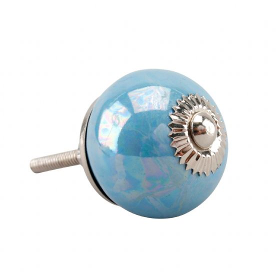 Blue Pearlescent Ceramic Drawer Handle / Pull